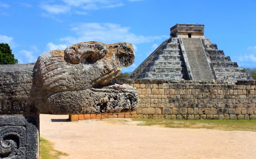 Chichen Itza with head sculpture