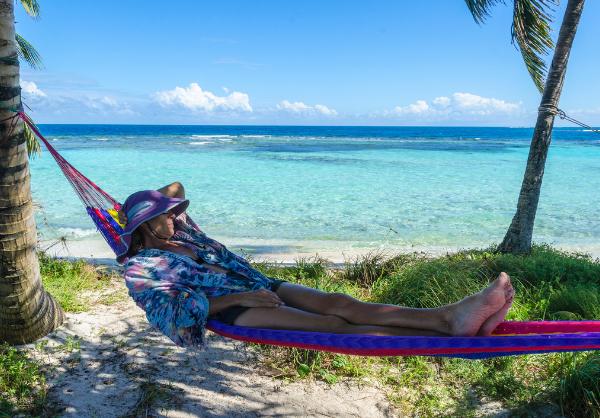 caribbean beach with hammock